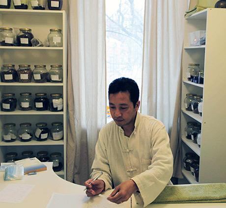 Dr. Sherab Tenzin Barma in healing center